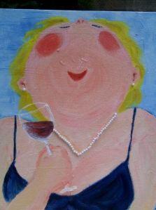 Zelfportret met een wijntje.