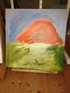 Zonsondergang die op een berg lijkt